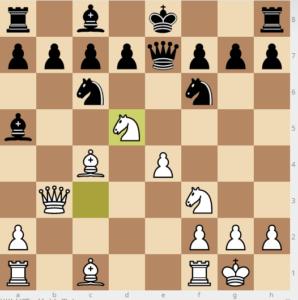 bobby fischer vs reuben fine evans gambit Ba5 dxc3 Qe7 variation move 11 exd5