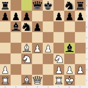 evans gambit Bb6 variation move 9 bg4