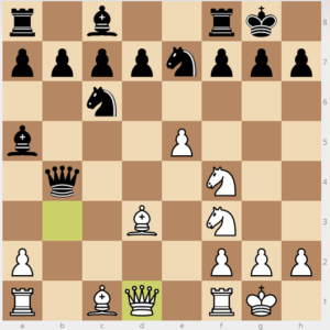 evans gambit dxc3 variation 14 Qd1