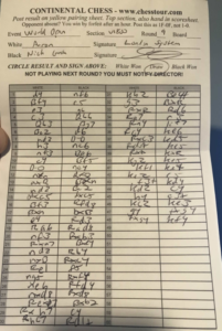 chess scoresheet world open