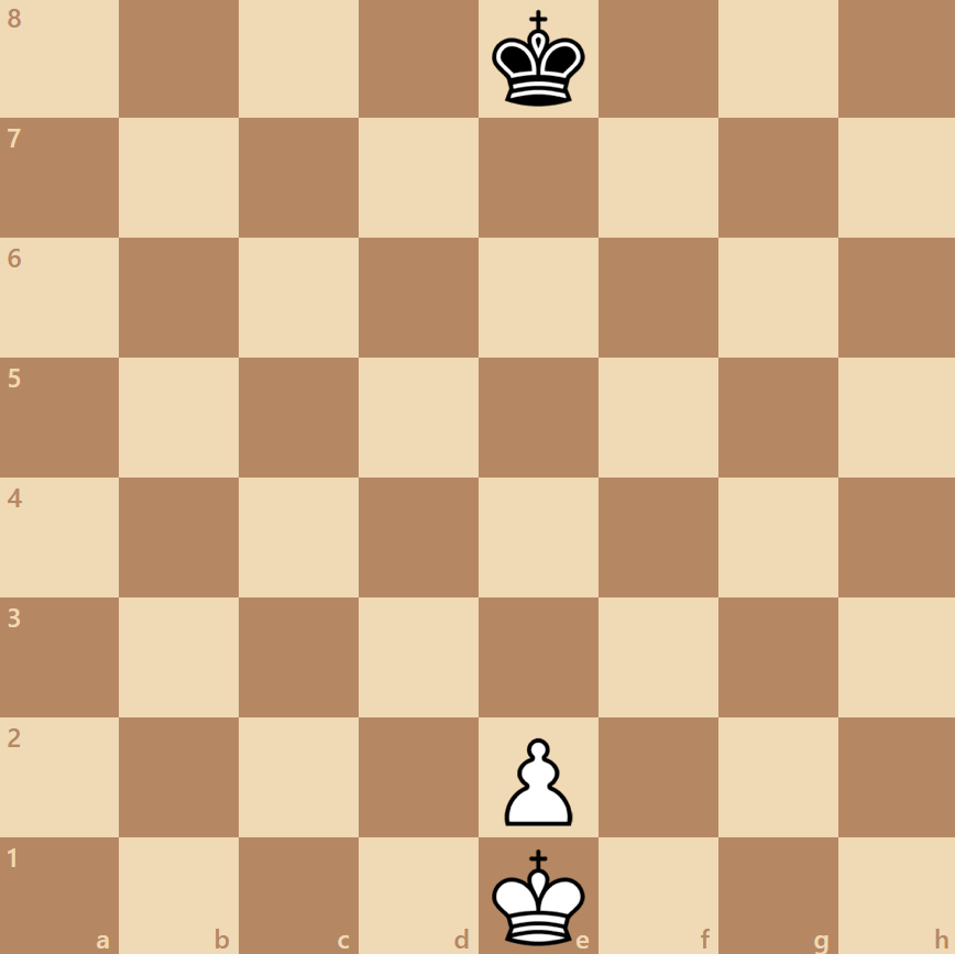 white to move wins with a space between the king and pawn