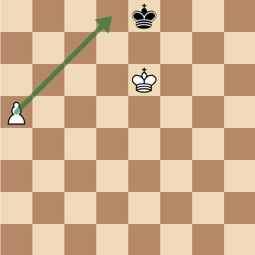 draw the square with a diagonal arrow for the pawn