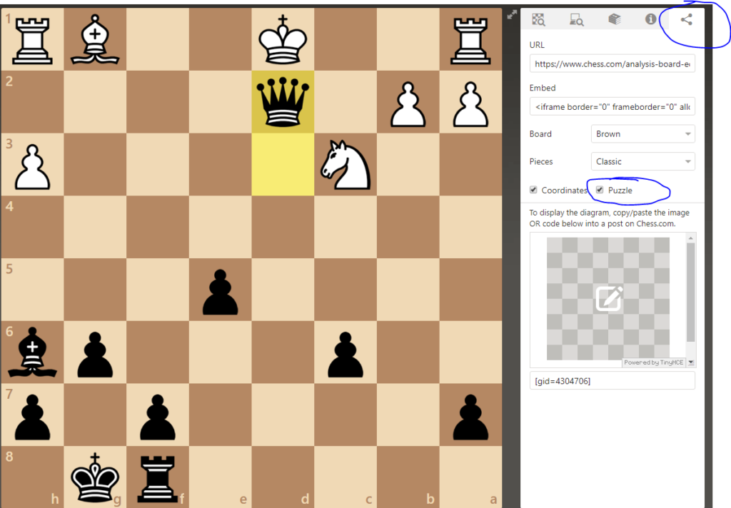 uploading chess puzzle to site