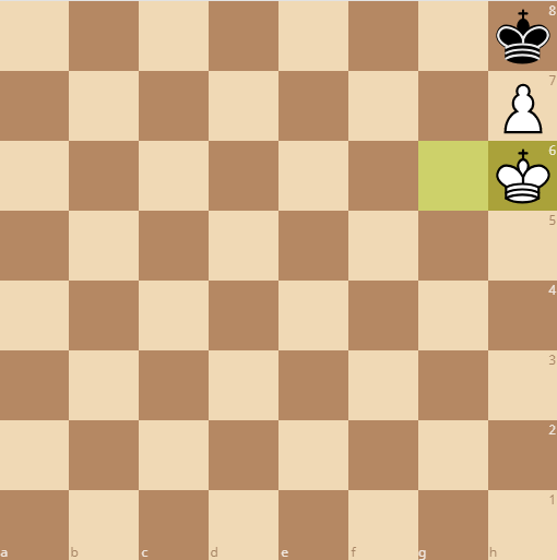 the king makes it to the h8 square in time