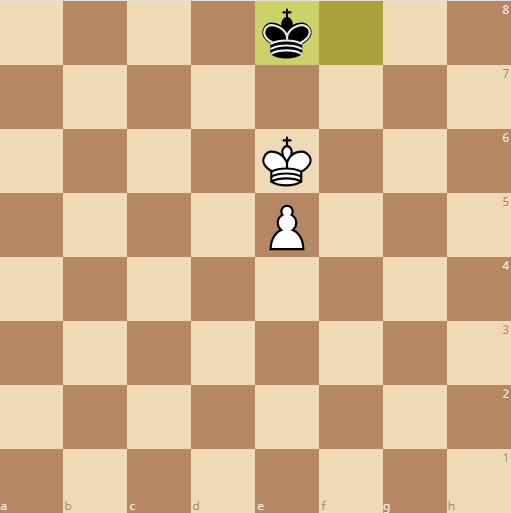 white has a space between the pawn and king so a win is inevitable