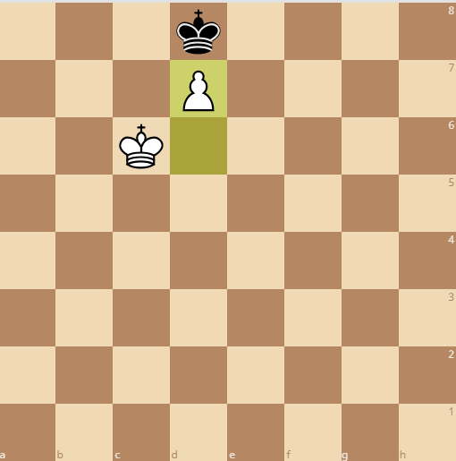 the pawn kicks the king out of the queening square